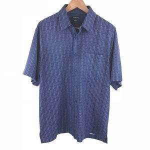 Toscano Navy Large Short Sleeve Silk Shirt Size L